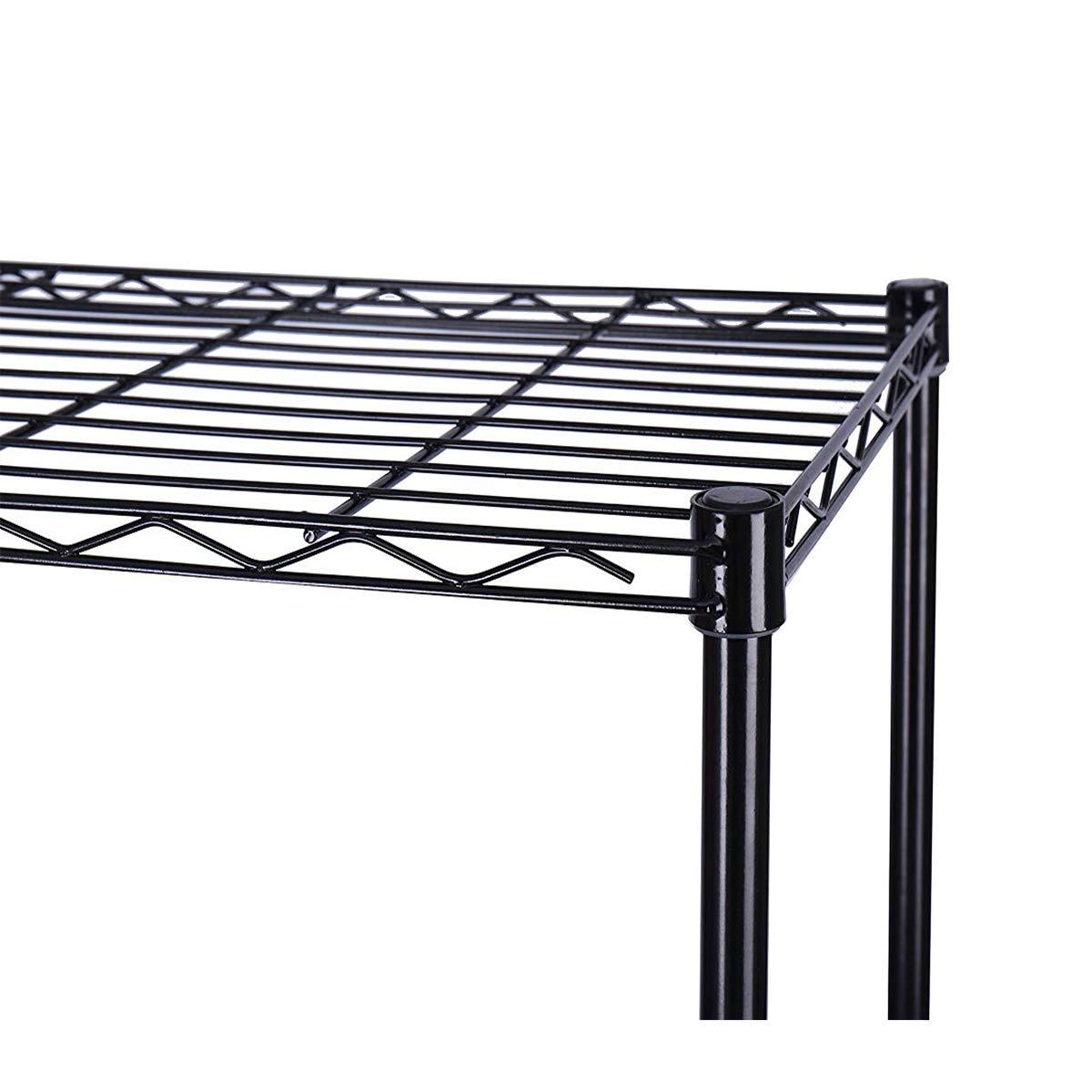 GSYX 4-Shelf Shelving Unit, Industrial Storage Bookshelf Rack, Metal 4-Tiers Bookcase Home Office Shelf Storage Rack -Small Space Solution (Black, 4-Shelf-Big)