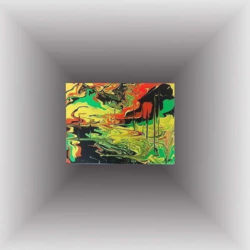 Tableau abstrait Action painting vert jaune rouge à l ...
