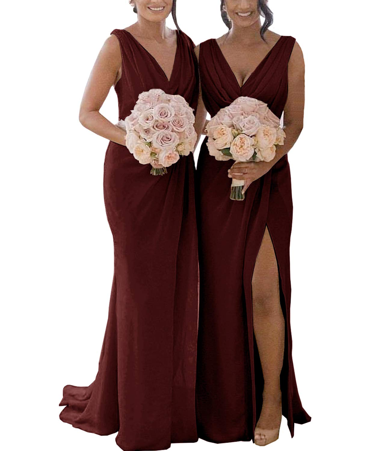 Womens V-Neck A-Line Pleated Chiffon Bridesmaid Dress Long with Beaded Belt Evening Party Gown