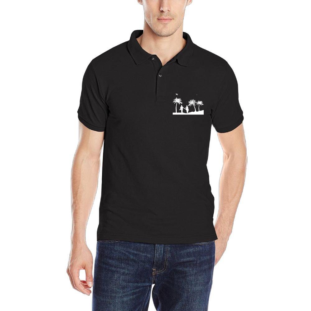 Men's Cotton Short-Sleeve Collar Polo Shirt Beach Wedding Classic Tee