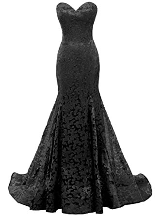 SOLOVEDRESS Womens Mermaid Sweetheart Lace Evening Dress Bridesmaid Prom Gown (US 2, Black)