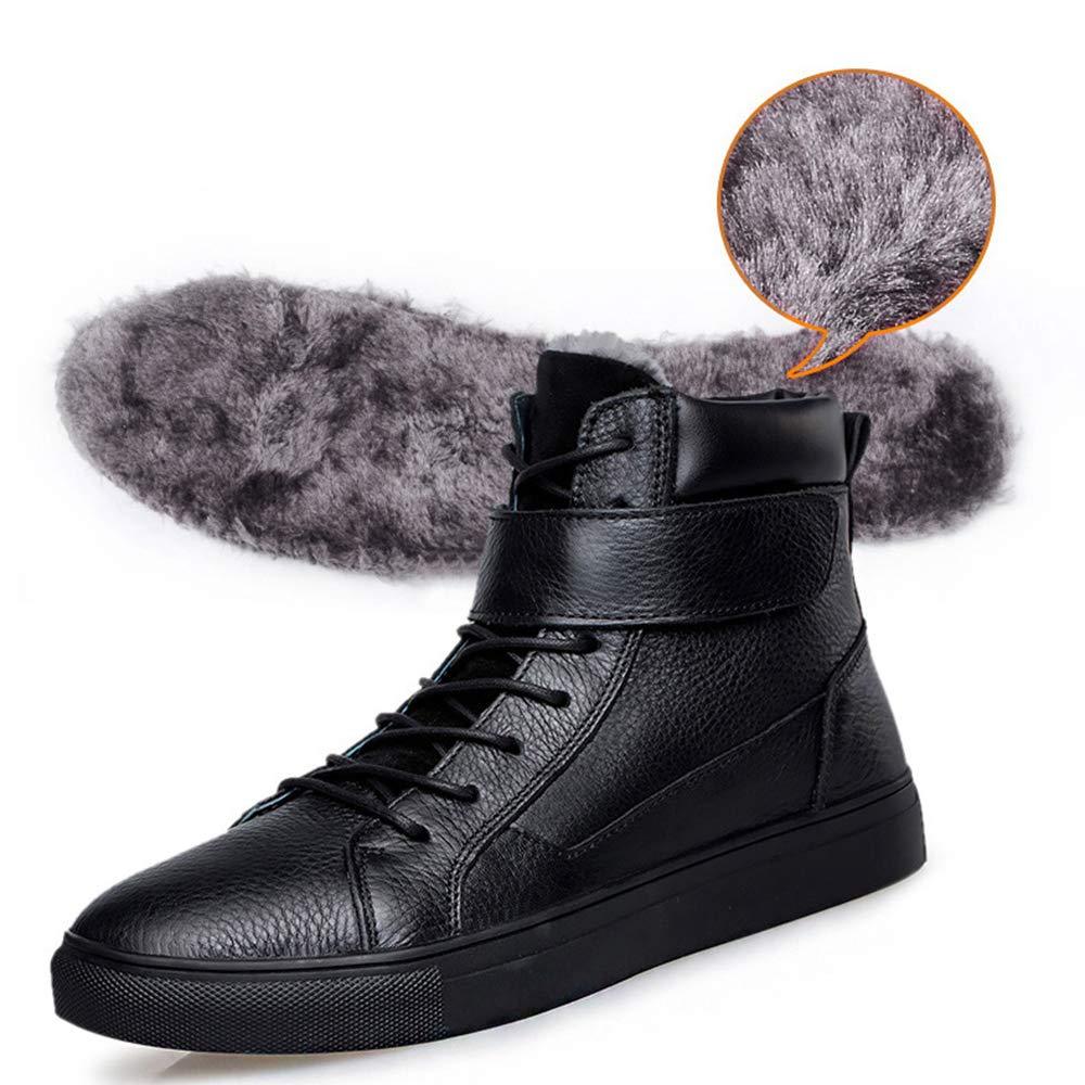 カジュアルシューズ メンズ 大きいサイズ 29cmまで ワークブーツ ハイカット 編み上げ 歩きやすい 本革 柔らかい 棉靴 スニーカー オシャレ ベルクロ 冬 雪靴 防寒 防水 ウォーキング 紳士靴 ブラック B07L6JXM4H 29.0cm48 ボア/ブラック ボア/ブラック 29.0cm48