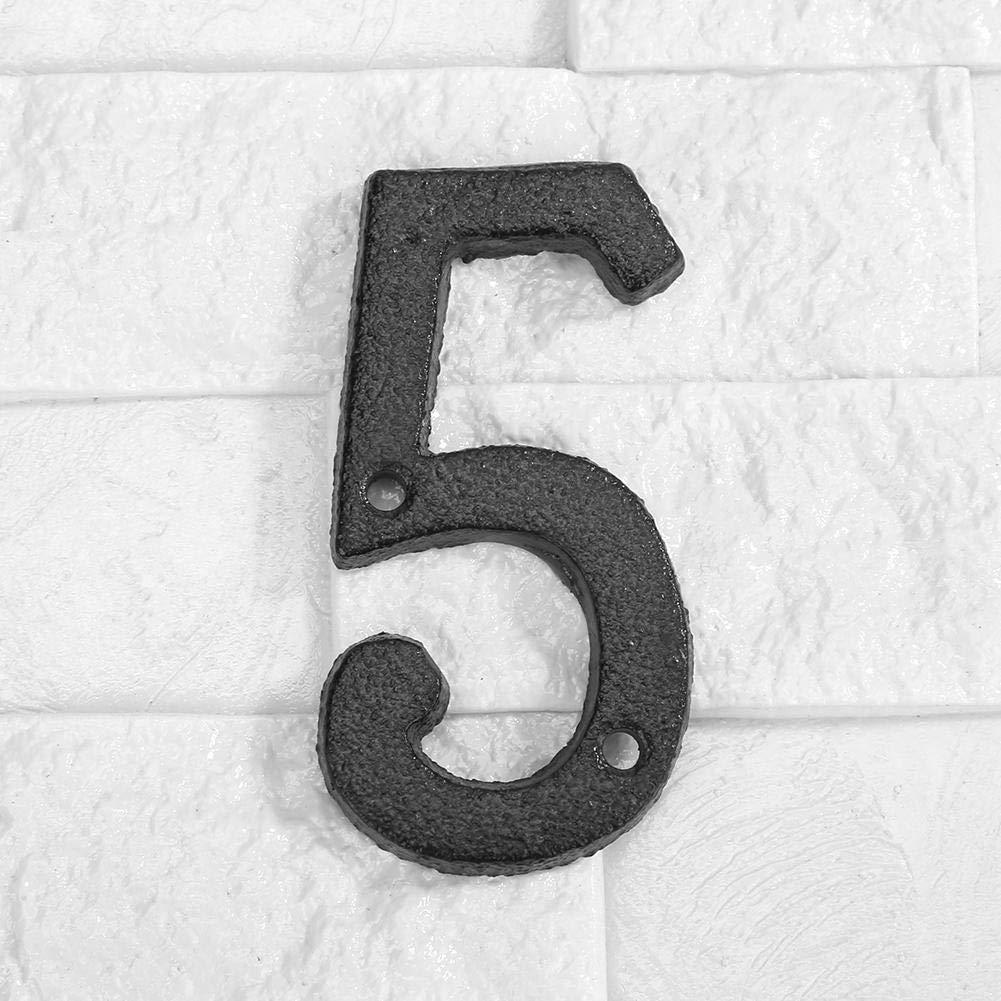 N/úmero de casa 0 placas de pared con tornillos de fijaci/ón 9 de hierro negro n/úmero de puerta de casa n/úmero de calle Domybest