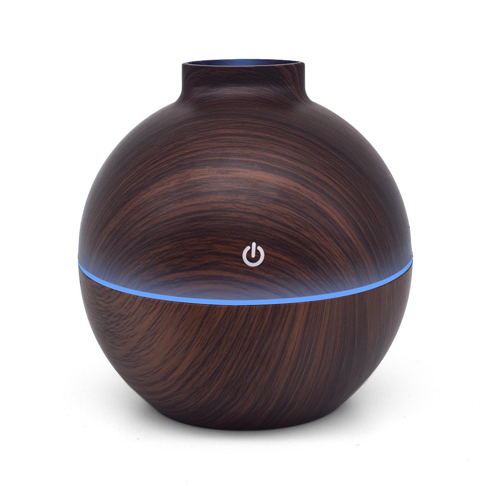 USB Power-Supplied Humidifier Aroma Essential Oil Diffuser, 130ml Ultrasonic Cool Mist Humidifier with LED Night Light USB Humidifier For Office Home Bedroom Living Room Study Yoga Spa (Dark Wood) by KBAYBO (Image #10)