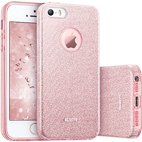 iPhone 5S Case, iPhone SE Case, ESR Luxury Glitter Sparkle Bling Designer Case [Slim Fit, Hard Back Cover] Shining Fashion Style for Apple iPhone 5S/ SE /5 (Rose Gold)