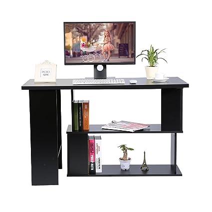 Mesa de ordenador de esquina, 360 ° giratorio en forma de L PC ...