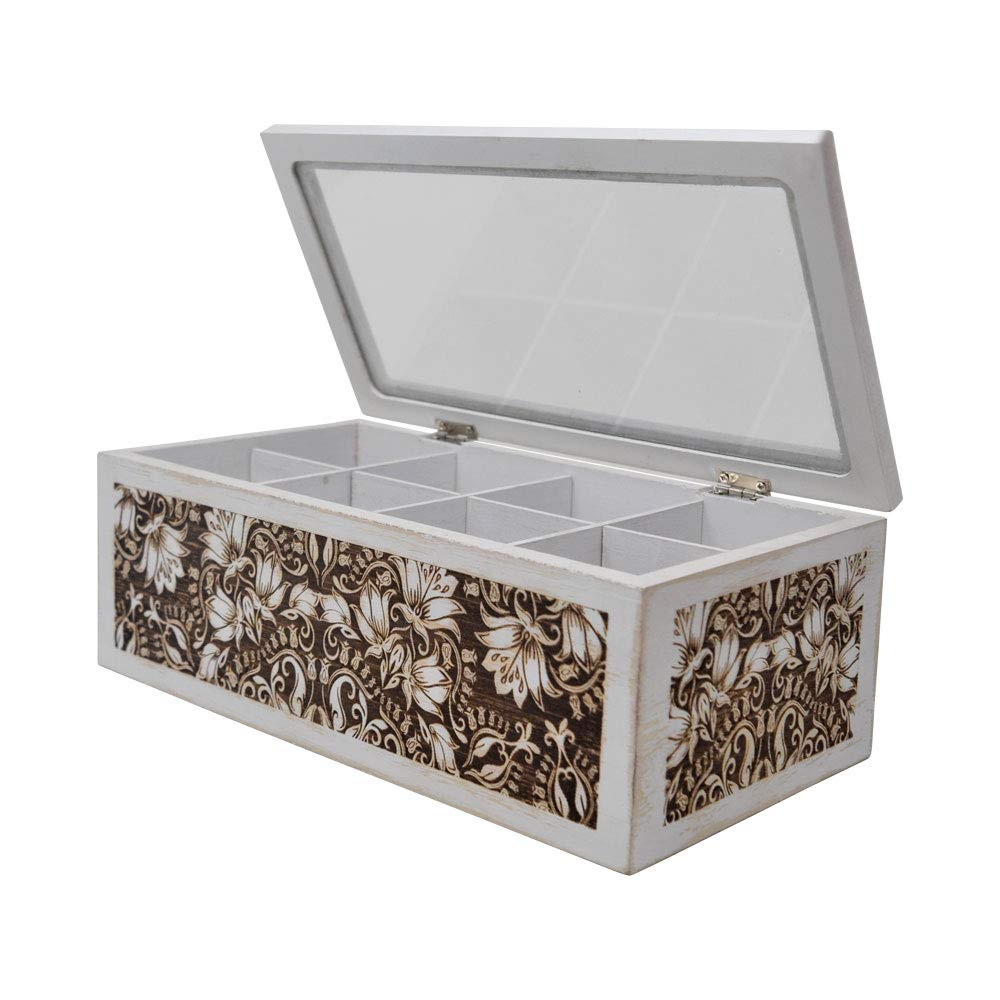 "gbHome GH-6746 Decorative Home Decor Wood Tea Box, 10.75"" x 5.75'' x 4,'' Eight Compartments, Rustic, Antique Distressed Wood Organizer for Sewing Supplies, Jewelry, Beads, Hair Accessories and More!"
