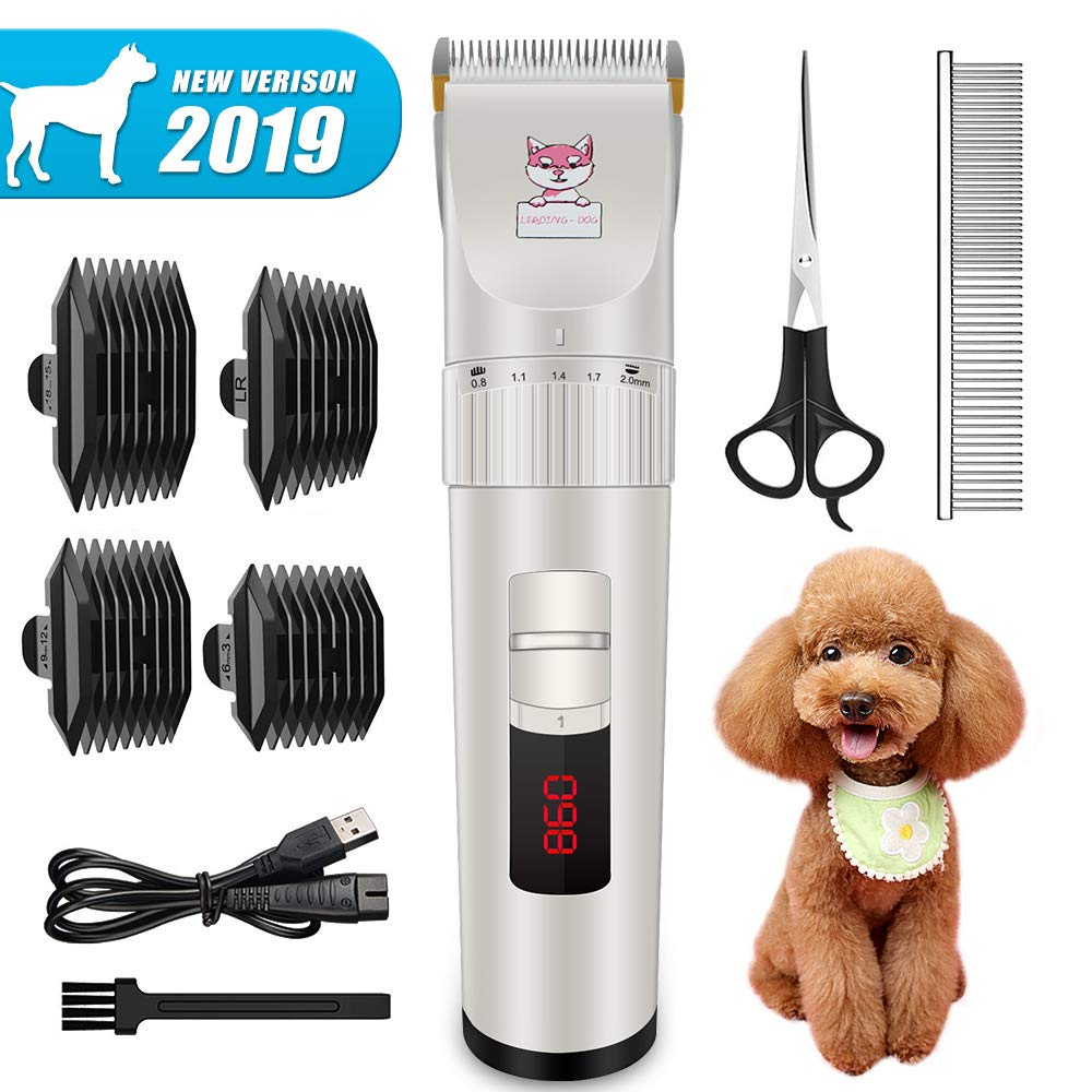 【New Version】Dog Clippers, Heavy Duty Electric Low Noise Pet Hair Grooming Kit with Detachable Blades & LED Screen Indication, Professional Rechargeable Cat Hair Shaver for Dogs Cats All Pets