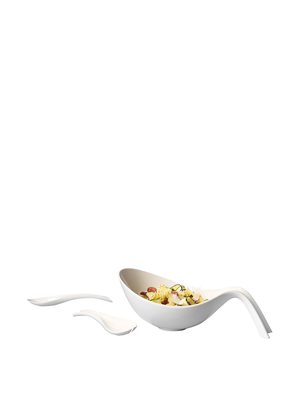 Villeroy & Boch Flow Salat-Set / Moderne Salatschüssel mit Salatbesteck aus Porzellan in Weiß 10-3420-8813