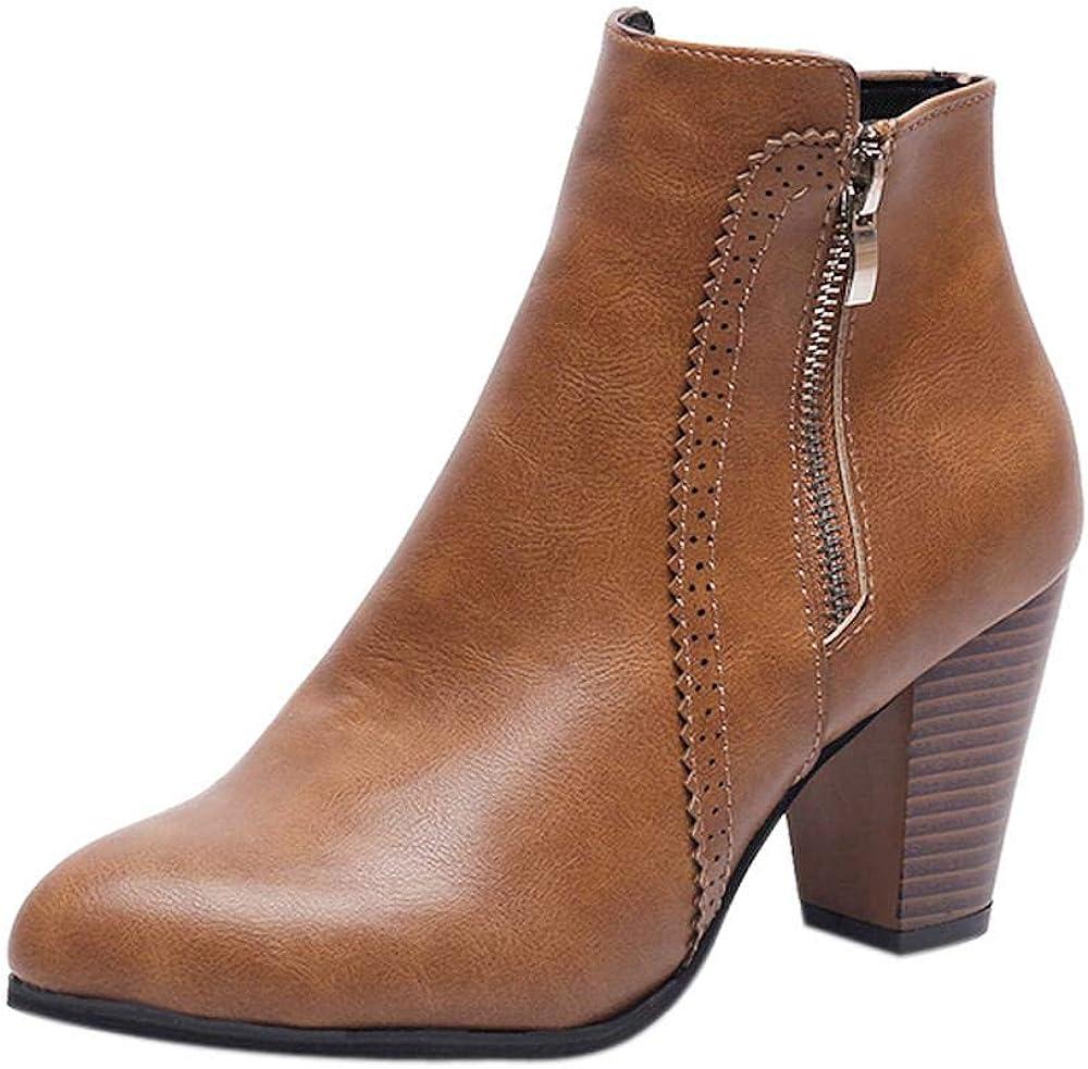 Logobeing Botines Mujer Tacon Invierno Planos Tacon Ancho Piel Botas de Mujer Medio Zapatos Combat Casual Planas Zapatos de Plataforma-5836