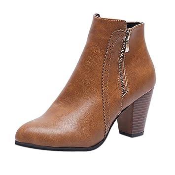 Logobeing Botines Mujer Tacon Invierno Planos Tacon Ancho Piel Botas de Mujer Medio Zapatos Combat Casual Planas Zapatos de Plataforma-5846(35,Marrón): ...