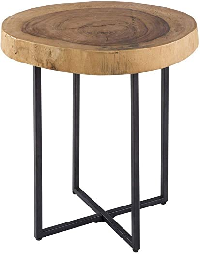 Ink Ivy Arcadia Accent Tables – Metal, Wood Side Table – Natural, Matt Black, Modern Style End Tables – 1 Piece Authentic Wood Block Small Tables For Living Room