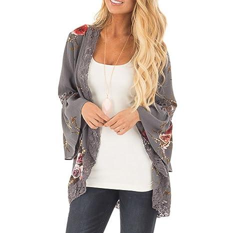 Chaqueta con estampado floral para mujer, apertura frontal con encaje, chaqueta kimono, estilo