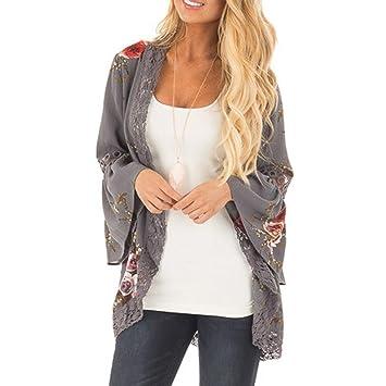 Chaqueta con estampado floral para mujer, apertura frontal con encaje, chaqueta kimono, estilo informal holgado extra-large gris