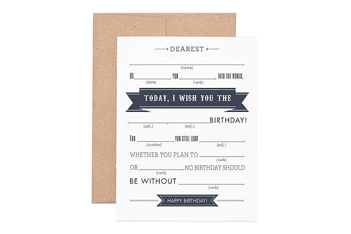 Amazon Mad Libs Happy Birthday Letterpressed Greeting Card