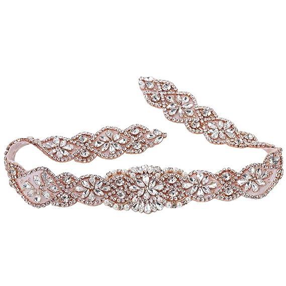 Cinturón de boda Applique con piedras de Strass y perlas en oro rosa: Amazon.es: Hogar