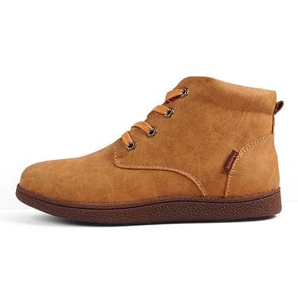 FHCGMX Botas de Cuero para Hombre Botines para Hombres Calientes Botas de Cuero Zapatos de Nieve
