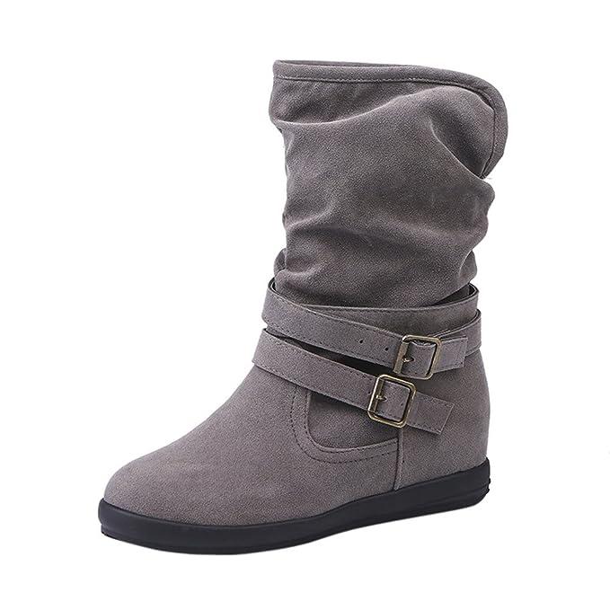 YiYLunneo Zapatos Botas De Nieve Mujer Invierno Botines Muere para CuñA Baja Hebilla Biker Tobillo CN 36-43: Amazon.es: Ropa y accesorios
