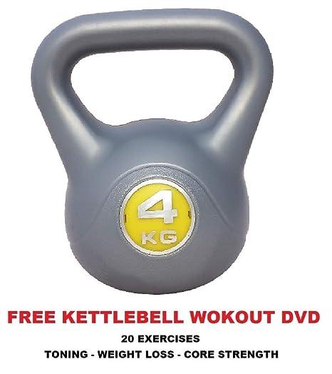 Pesas rusas vinilo 4 kg pesa rusa (Kettle Bell libre entrenamiento DVD