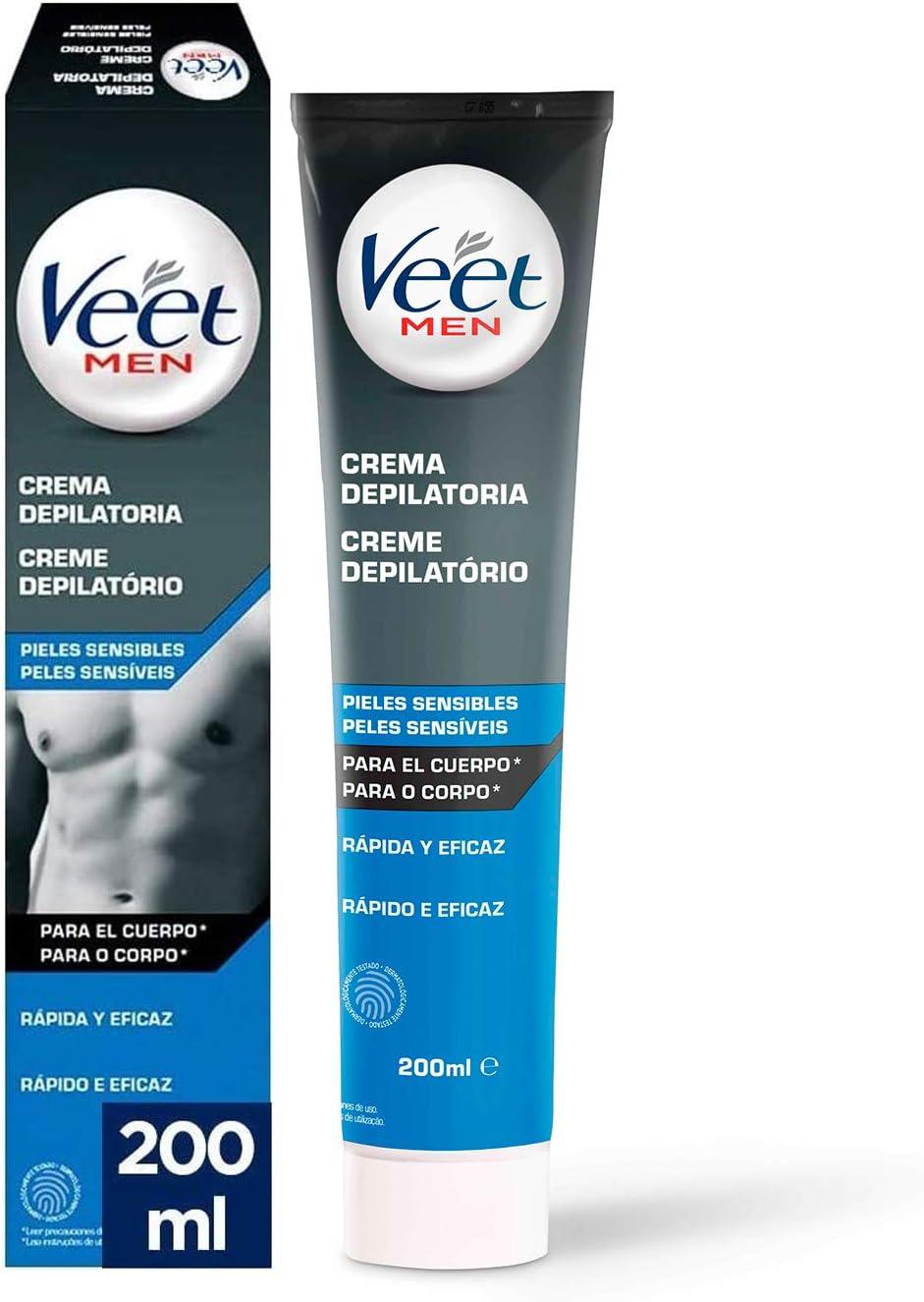 Veet for Men Crema Depilatoria para hombre - Piel Sensible 200 ml: Amazon.es: Salud y cuidado personal