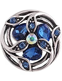 Interchangeable Snap Jewelry Rhinestone Marquise Flower Dark Blue Snap fits 18-20mm by