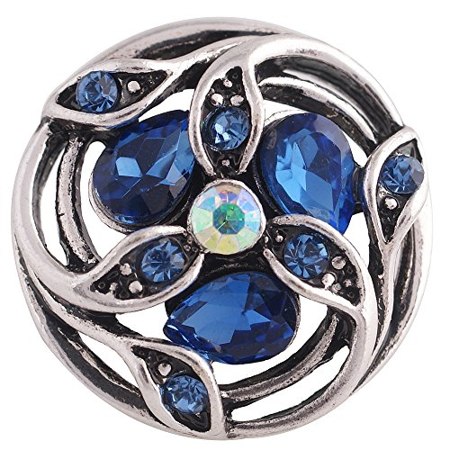 Interchangeable Snap Jewelry Rhinestone Marquise Flower Dark Blue Holds 18-20mm Snaps My Prime Gifts