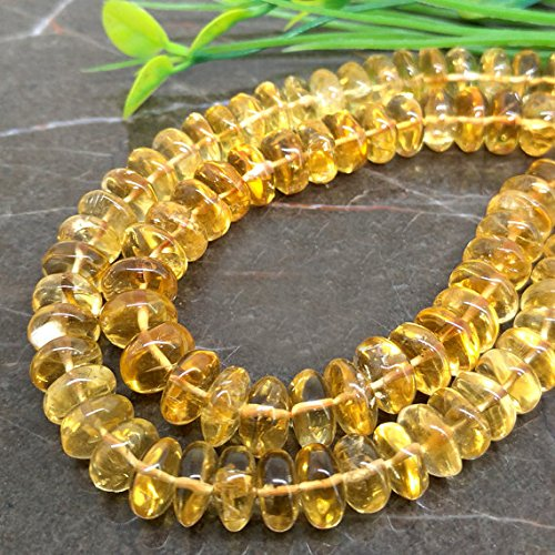 1 Strand Natural Citrine 9-11mm Smooth Rondelle Gemstone Beads 10