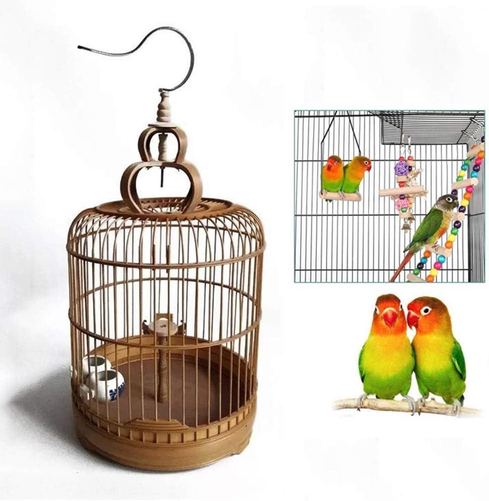 TIFJL Jaulas de pájaros, bambú Jaula de pájaro de Productos para Mascotas en Pigeon Loro Ronda de la Jaula de pájaro