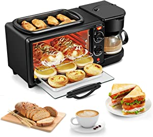 Oven Microwave Combi Mini Electric Oven Roast Grill Frying Pan Toaster Cake Bread Maker Fried Eggs Omelette Frying Pan 3 in 1 Breakfast Machine 1050w Multifunctional Non-stick Grill(US Plug)