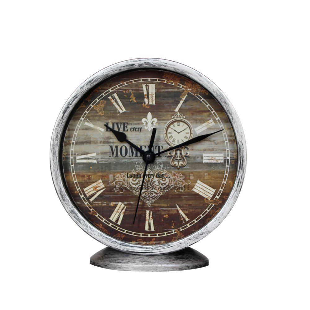 Classic Silent Desk Clock, Non-ticking Decor Wall Clock 6 Inch Vintage Silver Metallic Looking Easy to Read For Kitchen Bathroom Kids Room