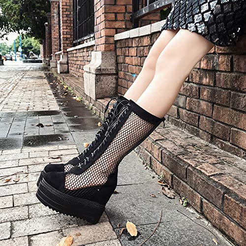 Black hollow crossed sandals and heels centimeters Sandals boots High boots 14 HqvZ0Hw