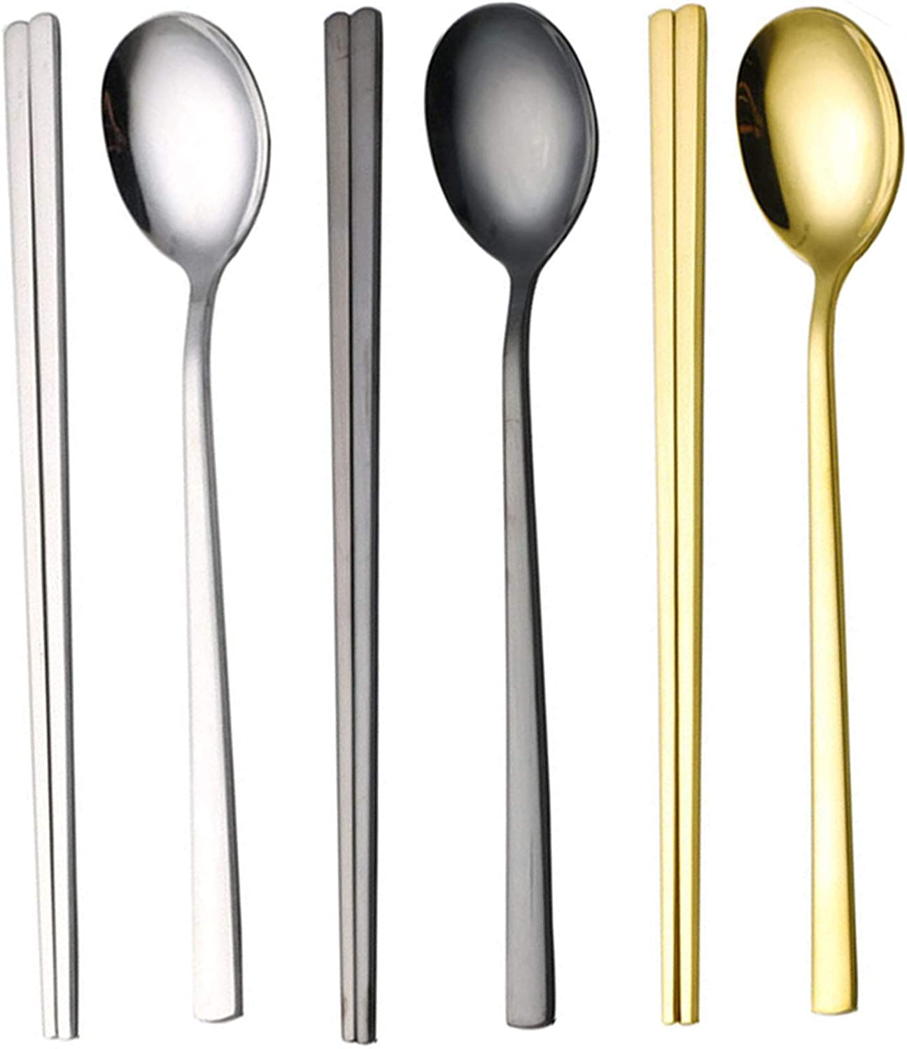 Korean Chopsticks and Spoon Set, Long-handle Reusable Stainless Steel Flat Square Chopsticks and Spoon Flatware(Silver+Gold+Black), Set of 3.