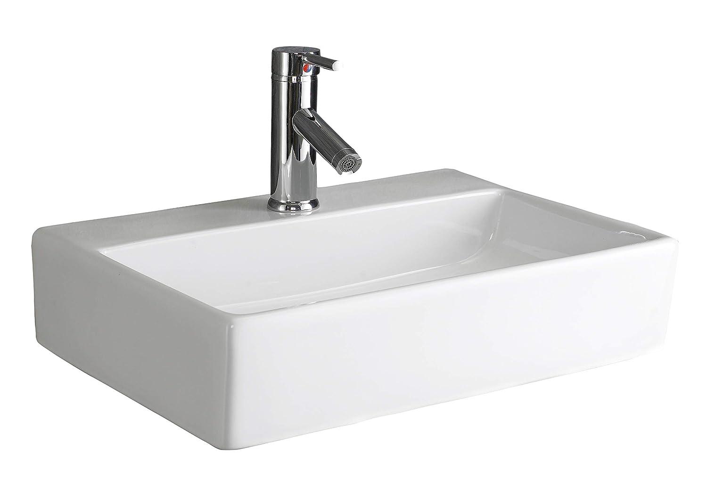 Clickbasin Wall Mounted 51cm X 36cm Calabria Ceramic Rectangular Sink