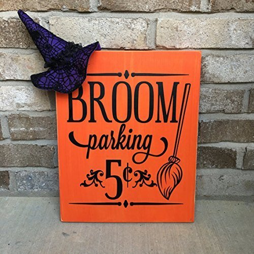 Witch's Broom Parking Rustic Wooden Halloween -