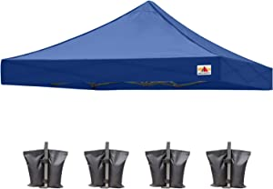 ABCCANOPY Replacement Tent Top Cover, Instant Pop up Canopy Top Cover ONLY, Bonus 4 Weight Bags (10x10, Navy Blue)
