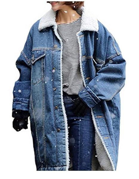 Abrigo Mujer Largo Elegantes Parkas Invierno Casuales Abrigo De Jeans Espesar Fashion Tendencia Sencillos Streetwear Caliente