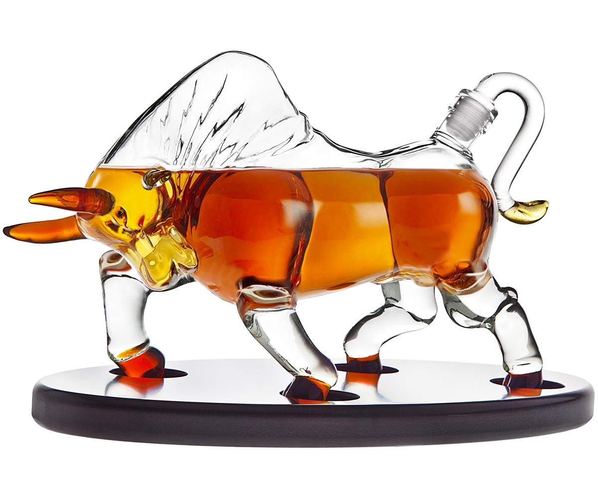 Animal Whiskey Decanter Bull On Wooden Display Tray - For Liquor Scotch Vodka or Wine - 500ml
