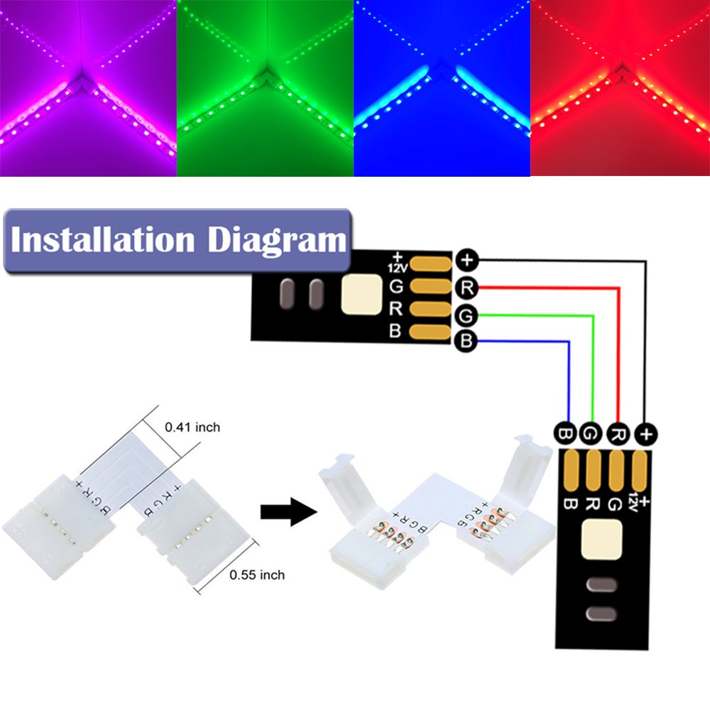 164ft5m 4 Pin Rgb Led Strip Extension Cableled Strips Connectors Wiring Diagram Kits With Jumpersl Shape Connecters For 5050 Flexible Light