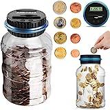 Digital Coin Bank Jar Coin Counter Storage, Canadian Coin Piggy Saving Bank, 1.8L Money Saving Box Jar Bank Identify Canadian