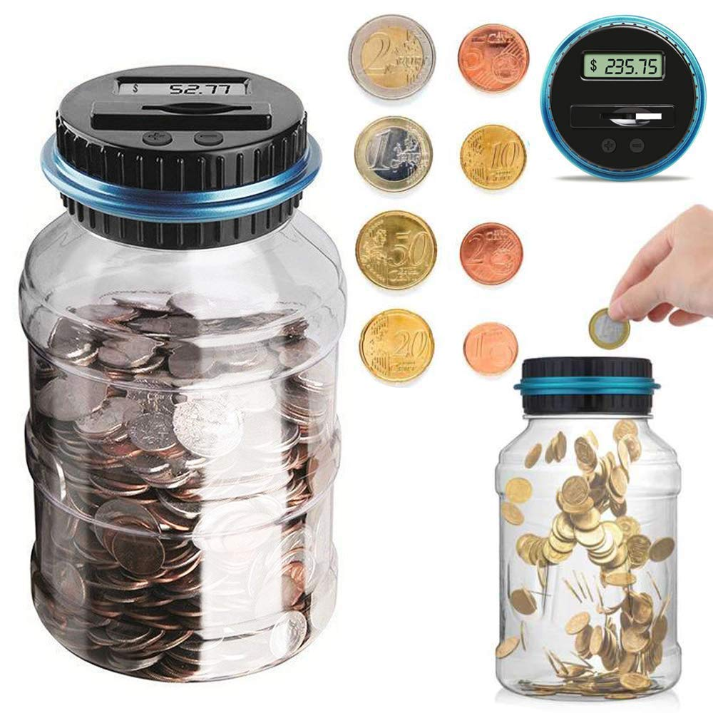 Houkiper Digital Coin Bank Jar Coin Counter Storage, 1.8L Coin Piggy Saving Bank, Money Saving Box Jar Bank with LCD Battery Coin Counter for Kid Adult Boy Girl As Unique Gift by Houkiper