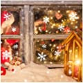 190+ Snowflakes Window Clings White Baubles Bells Christmas Stickers Decal Xmas Wall Stencils Removable Template Door Mural Winter Wonderland Decorations Ornaments DIY Party Supplies (6 Sheets)