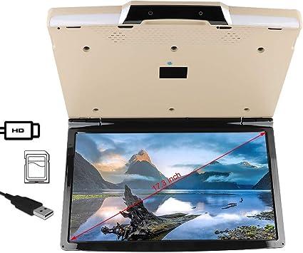 Cosiki TV montada en el automóvil, TV Universal de 17.3 Pulgadas montada en el Techo TV 1080p Wireless Reproductor MP5 de TV para automóvil para el Sistema Android 7.1: Amazon.es: Electrónica