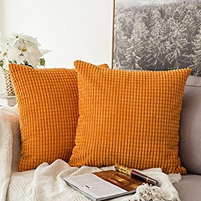 MIULEE Pack of 2 Decorative Throw Pillow Covers Soft Corduroy Solid Cushion Case Orange Pillow Cases for Couch Sofa Bedroom Car 18 x 18 Inch 45 x 45 cm - SIZE: 2pcs of 18 x 18 inch pillow covers without inserts. Please allow 1~2cm deviation because of hand-cutting and sewing. Material: Made by polyester and cotton blend. Very soft and comfortable. Zipper is hidden and works smoothly. Good Decoration: These pillow covers are very comfy and soft. Suitable for balcony,living room,bedroom,party,picnic,wedding,office,cafe,etc. You could use an inexpensive way to change the look of your pillow cover rather than buying new throw pillows. - living-room-soft-furnishings, living-room, decorative-pillows - 61rUG66a0mL. SS400  -