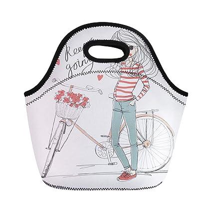 6a61541d64cd Amazon.com: Semtomn Lunch Bags Beautiful Attractive Girl Bike Basket ...