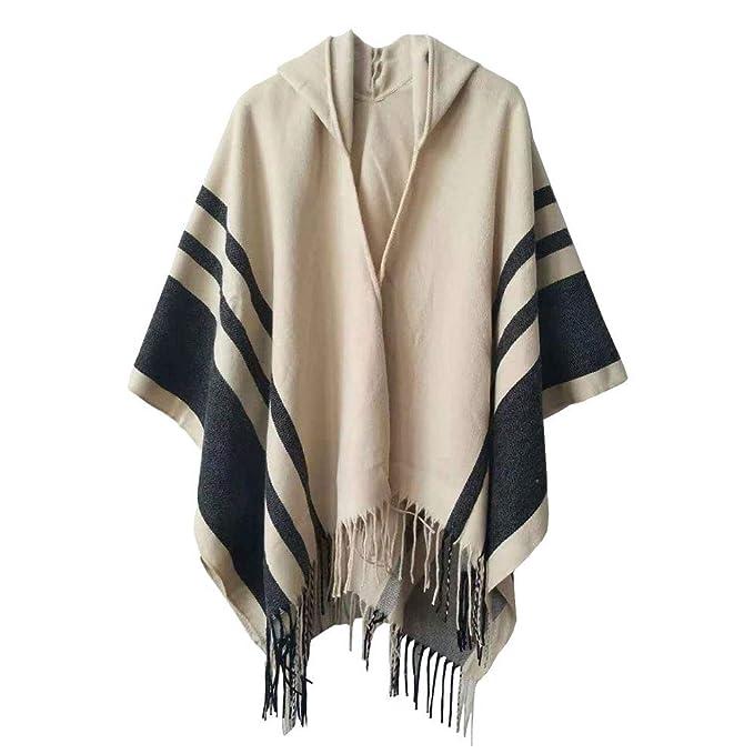 Boyzn Women\'s Hooded Poncho Capes Winter Sweater Coat Wrap Blanket ...