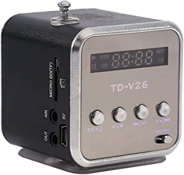 Portable Mini Speaker TD-V26 Digital Music Player Stereo FM Radio Speaker Support SD TF with Charging and Audio Cable 1pc