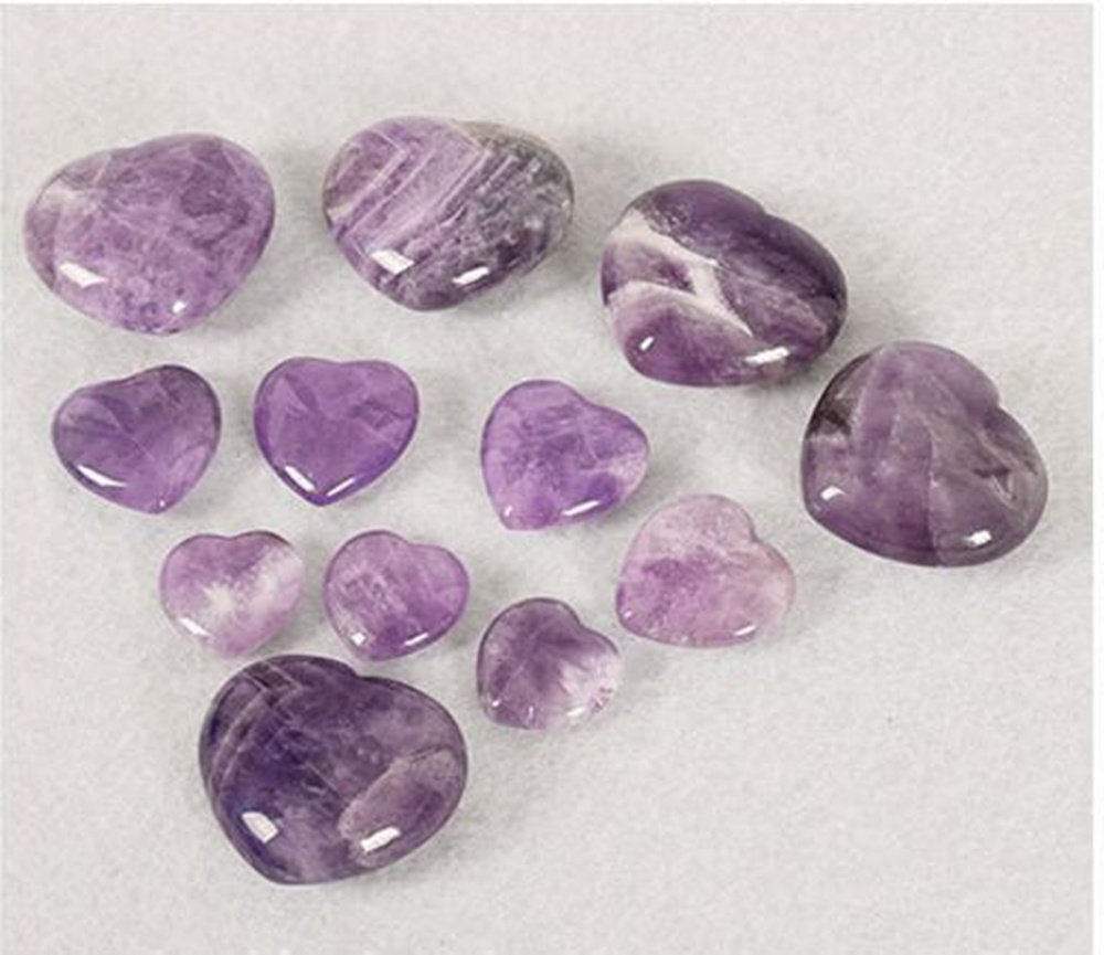 Natural Amethyst Gemstone Healing Crystal Puff Heart Love Worry Fengshui Stone Chakra Reiki Balancing Massage and Decoration by JRT (Image #4)