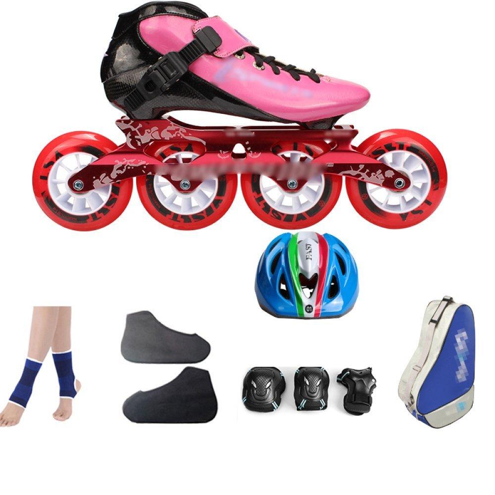 ZYH ローラースケートインラインスケートカーボンファイバースピードスケートシューズレーシングシューズプロの大人用子供用大型ローラースケートシューズローラースケートインラインローラースケートピンク。 (Color : PinkB, サイズ : 40) B07R6K299H