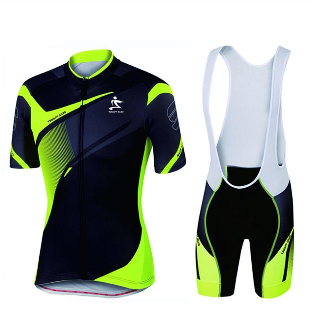 LBY Radtrikot mit Bib Shorts - Bike gepolsterte Shorts Polyester Gewebe Strumpfhosen Jersey Kleidung Anzüge