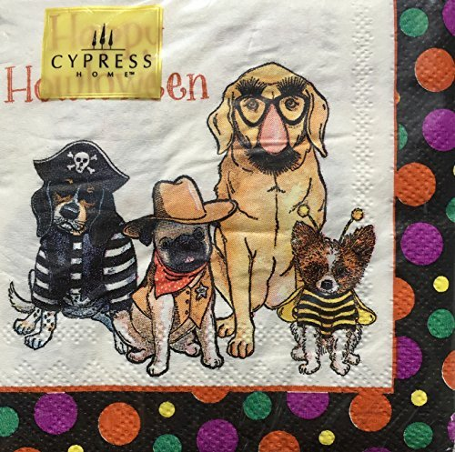 Cypress Home Cocktail Beverage Paper Napkins, Happy Howl-oween Dogs, 40 (Cygnet Studios Costumes)